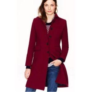 J Crew 8 Classic Burgundy Day Coat Wool Thinsulate